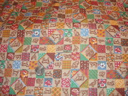 Vintage Cotton Fabric SHADES OF BROWN MULTI COLORED PATCHWORK Animals 1 Yd 44quot; $12.00