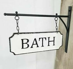 Vintage Style Shabby Rustic Hanging Metal Bath Sign With Hanging Bar $29.95