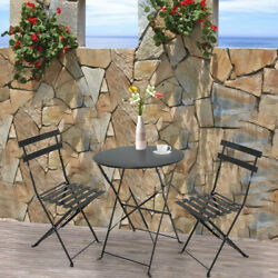 3 Piece Small Outdoor Bistro Set Table amp; Chairs Patio Furniture Dining Black US $134.78