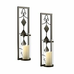 2 Set Wall Sconces Candle Holders Metal Wall Decorations Antique Style Metal ... $40.62