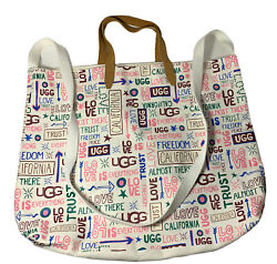 UGG Large Canvas Tote Spring Bag Love Is Everything Freedom California White $16.99