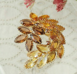 Vintage Shades of Topaz Marquise Open Back Rhinestone Swirl Gold Tone Pin Brooch $24.95