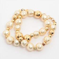 Christian Dior Necklace Gold Platedx Pearl Gold $198.00