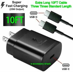 25w Type USB C Super Fast Wall Charger10FT Cable For Samsung Galaxy S20 S21 5G $9.85