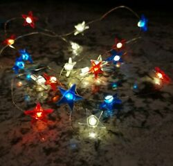 Patriotic Tiny LED Battery Operated String Lights Red White amp; Blue Stars 3 Pack $13.99