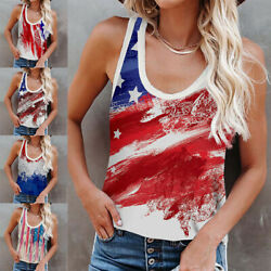 Summer Womens Crew Neck T Shirt Casual USA Printed Tank Tops Loose Vest Blouse $17.59