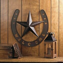 Rustic Welcome Star Horseshoe Western Country Metal Wall Art Plaque Home Decor $32.80