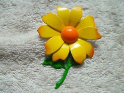 Lovely Sunflower Pin Enamel Over Metal in Colors of Orange Yellow and Green $6.00