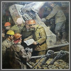 Old OIL USSR PAINTING METRO BUILDERS in Tunnel Russian Soviet REALISM 75quot;=1.9m $3499.99