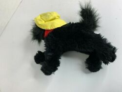 Curto Toy Plush Dog Black with Yellow Hat stuffed Animal Toy 9 x 7.5 in $10.99
