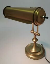 Mid Century Heyco Brass Bankers Desk Piano Lamp Light Adjustable WORKS w Bulb $54.99
