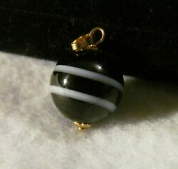 Antique Victorian Vintage Banded Agate Ball Gold Charm Fob $125.00