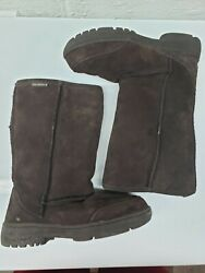 Bear Paw Womens Suede Slip On Round Toe Comfort Mid Calf Brown Boots Size 6 $19.94