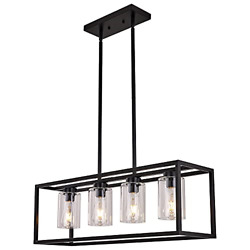 XILICON Black Dining Room Chandeliers Lighting Fixture Linear Pendant Modern for $203.67