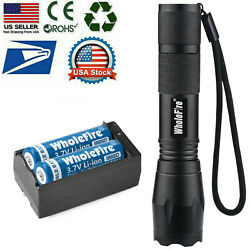 T6 LED Flashlight 2pc 18650 Li ion Battery Rechargeable Batteries Dual Charger $9.98