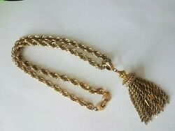 Vintage Signed MONET quot;Damitaquot; Chunky Goldtone Tassel Necklace 1960#x27;s $65.00