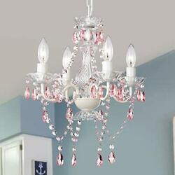 Pink Chandelier White Chandelier Lighting with Acrylic Crystals Mini 4 Lights... $73.33