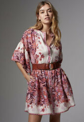 Anthropologie Janelle Tunic Dress Pink Floral Boho Size XS $105.00