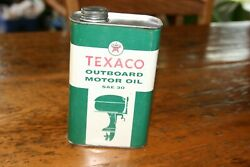 TEXACO OUTBOARD MOTOR OIL Old 1 qt. Tin Oil Can $39.00