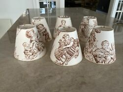 lot 6 Clip On Mini Chandelier Shades Lampshades French Victorian Toile brown $23.99