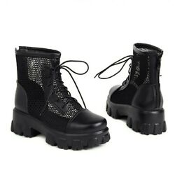Summer Mesh Lace ups Motor Chelsea Ladies Ankle Boots Round Low heels Shoes 43 L $60.85