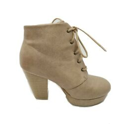 Charlotte Russe Womens boots Lace up Tan Beige Ankle Booties Size 6 $7.95