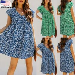 Women#x27;s Floral Ruffle Sleeve Party Dress Ladies Summer Holiday Swing Mini Dress $15.59