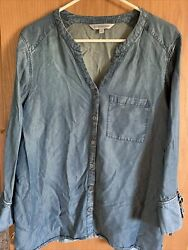 Downeast Button Front Blouse Chambray Denim Womens Size L 3 4 Sleeve Pocket $11.20