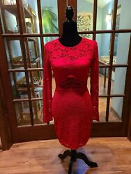 Vintage Express Red Lace Dress Long Sleeve Backless Body Con Sz. XS $19.99