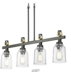 Knollwood 4 Light Antique Bronze Chandelier Vintage Brass Accents Clear Shades $198.99