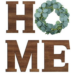 Wooden Home Sign Decorative Wooden Letters with Wreath Rustic Wall Hanging Home $21.57