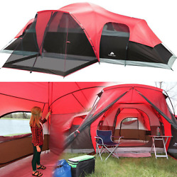 Large Outdoor Camping Tent 10 Person 3 Room Cabin Screen Porch Waterproof Red $167.80