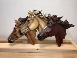 3 Horse Heads Intricate Details Wall Plaque Decorative Country Decor 3D effect $24.99