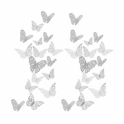 72 Pieces 3 Sizes 3 Styles Silver 3D Butterfly Wall Stickers Wall Decorations Re $16.30