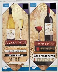 SET OF 2 DIFFERENT KITCHEN CANVAS WALL FRAMES approx. 20quot; x 8quot;DRINKING WINEMB $21.99
