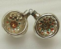 2 Vintage Russian USSR Glass Christmas Ornament Xmas Decorations Old Lanterns $17.99