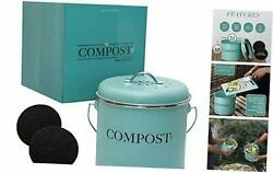 NEW Kitchen Compost Bin With Handle 0.9 Gallon Two Extra Free Filters $38.99