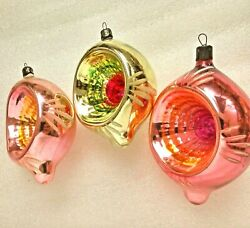 3 Vintage Russian USSR Glass Christmas Ornaments Xmas Decorations Old Lanterns $37.99