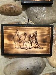 """Country Rustic """"3 Wild Horses"""" Pic Transfer to Burnt Wood $12.00"""