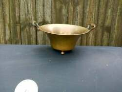 Vintage Brass Footed Bowl Planter with Handles $13.90