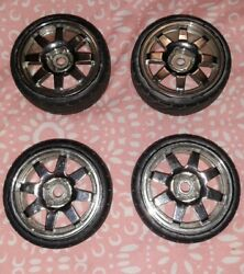 8 Spoke Chrome RC Wheels and Tires 1.9 26mm $15.00