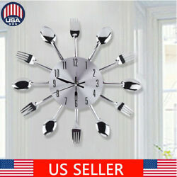 Wall Clock Large Kitchen Cutlery Utensil Spoon amp; Fork 3D Modern Home Decoration $12.19