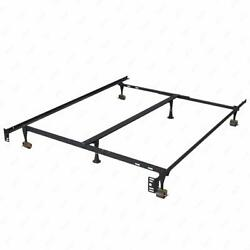 Metal Bed Frame Adjustable Queen Full Twin Size W Center Support Platform T46 $25.99