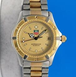 Mens or Ladies Tag Heuer 2000 18K Gold plate amp; SS Professional watch Gold Dial $345.00