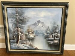 Beautiful Original Winter Outdoor Oil Painting on Canvass Signed by Artist Crane $225.00
