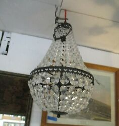 HANGING BLACK AND CLEAR GLASS CRYSTAL CYLINDER CHANDELIER $275.00
