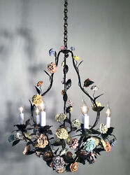 ANTIQUE LARGE 1920' FRENCH LOUIS XV GREEN TOLE CHANDELIER AND PORCELAIN FLOWERS $1850.00