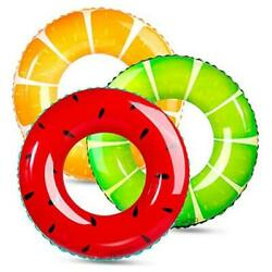 3 Pack Swimming Rings for Kids Adults Inflatable Pool Floats Fruit Pool Tubes $21.55