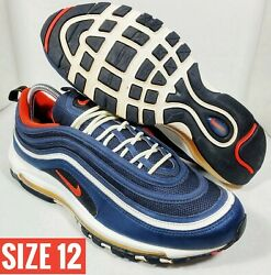 SIZE 12 Men#x27;s Nike Air Max 97 Midnight Navy Blue Habanero Red White 921826 403 $77.00