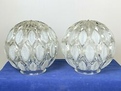 2 Vintage Mid Modern Light Shades Thick Glass w Frosted Design 6 1 2quot; Dia $74.00
